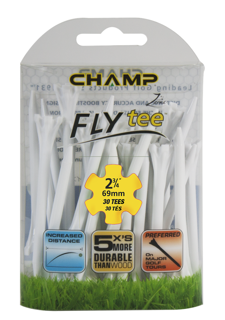 [39-FLYP234W] ​​Pack Of 30 - 2 3/4 White Fly Tee